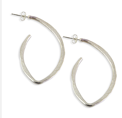 Silver Hammered Bent Oval Hoops with Post