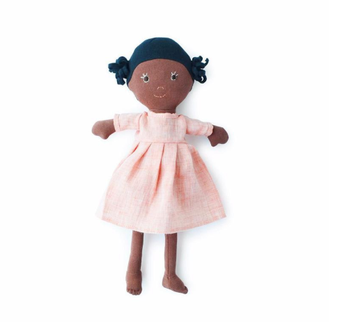 Doll - Ada in Coral Linen Dress