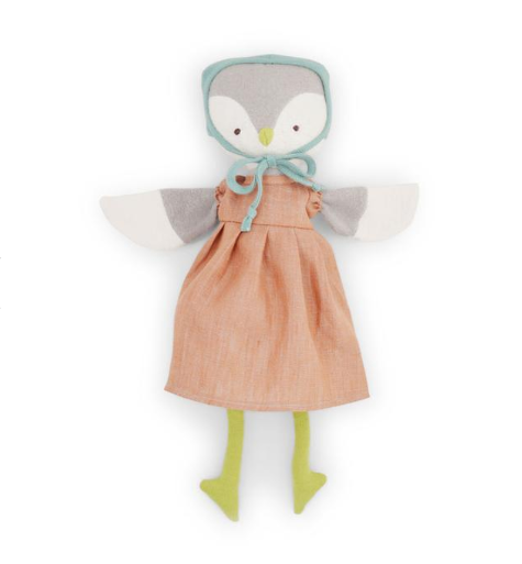 Animal - Lucy Owl in Clay Linen Dress & Bonnet