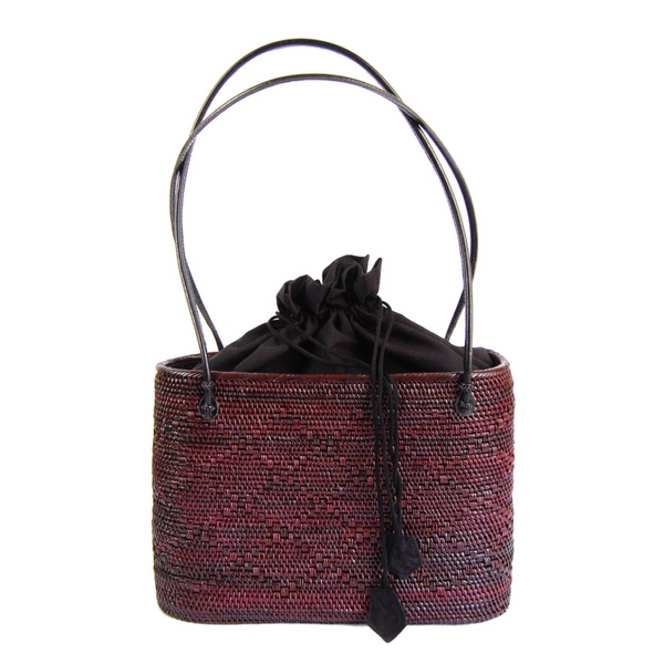 Peggy Fisher Black Cherry Tote w/Drawstring Liner