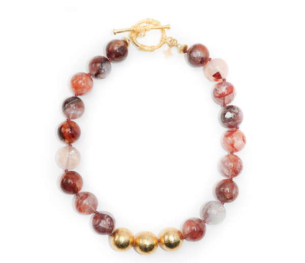 Collier Necklace in Red Marble Quartz
