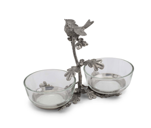 Bowl Condiment Pewter Double Song Bird