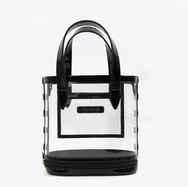Neely & Chloe - Packable Bucket Bag Patent Leather/Clear PVC