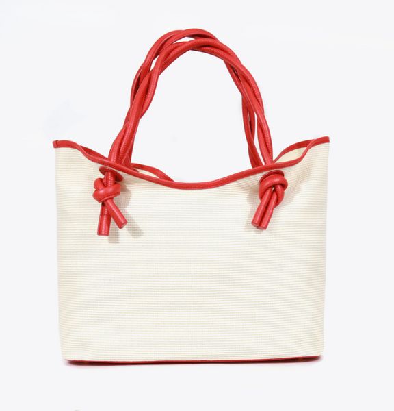 Neely & Chloe Twist Tote in Raffia & Pebble Leather