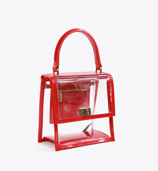 Neely & Chloe Mini Lady Bag Patent Leather/Clear PVC
