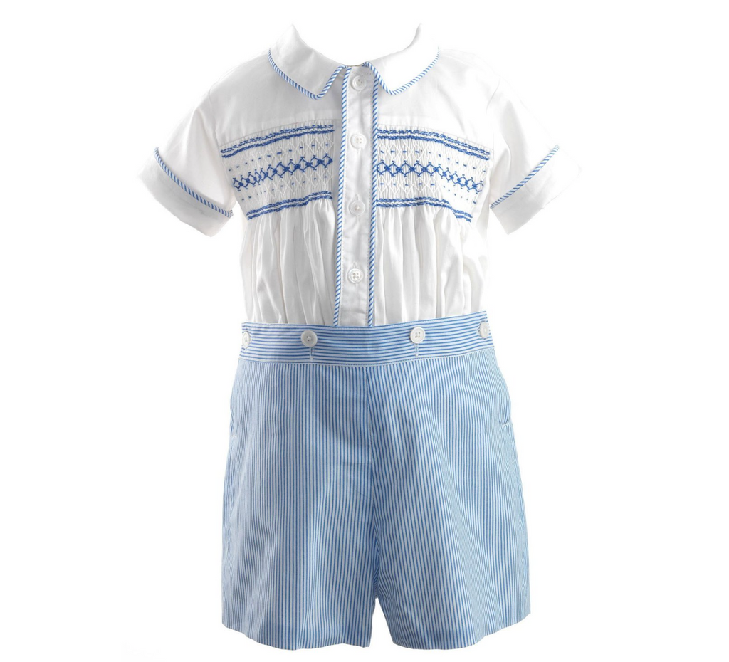 Short Set Striped Smocked Set