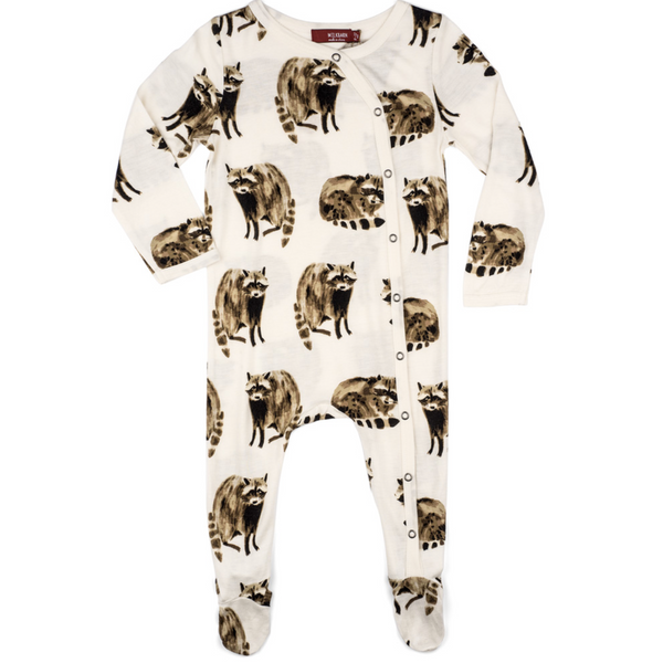 Bamboo Footed Romper - Raccoon