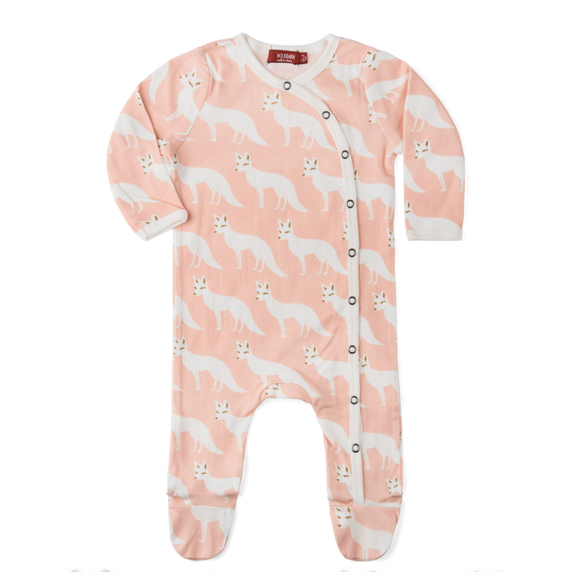 Organic Footed Romper - Pink Fox