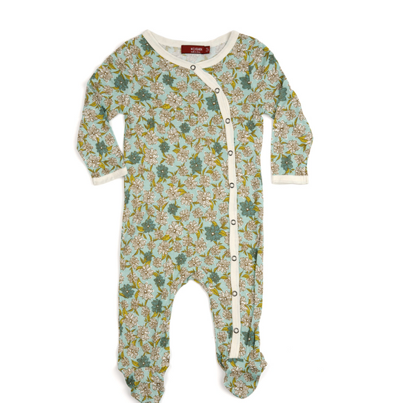 Bamboo Footed Romper - Blue Floral