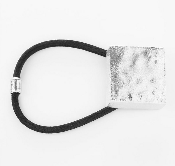 Hair Accessories - Pony Tail Holder Madison Square Hammered Metallic