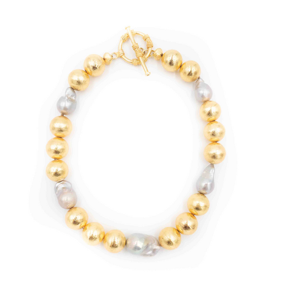 Annabelle Necklace - Grey Pearl