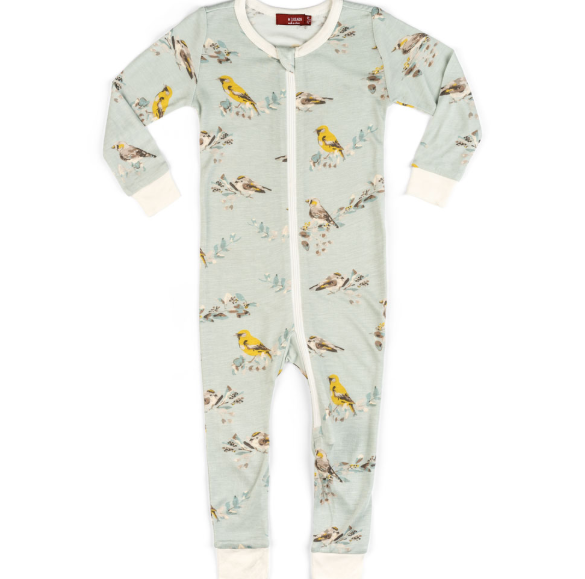 Bamboo Zippered Pajamas - Blue Bird