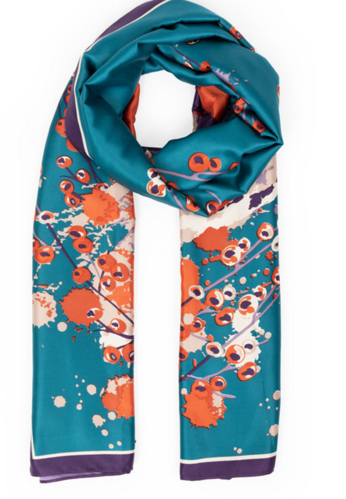 Watercolour Fox Satin Print Scarf