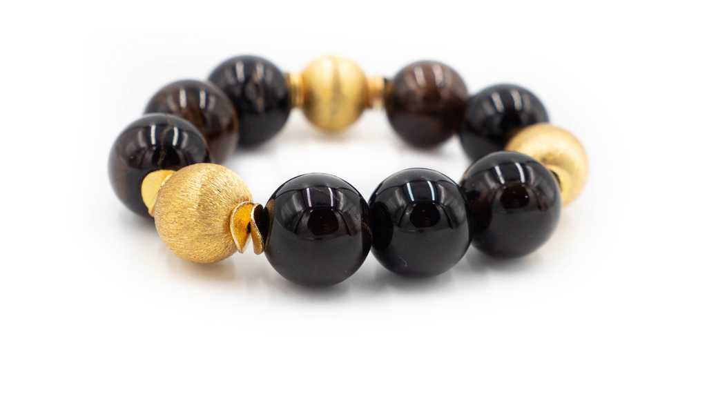 Addison Bracelet in Brown Agate & Gold