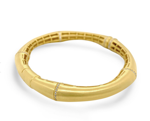 Bamboo Hinged Pave Bangle