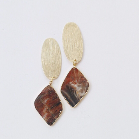 Gold Oval & Rhodonite Earrings