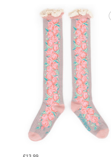 Climbing Rose Knee High Socks