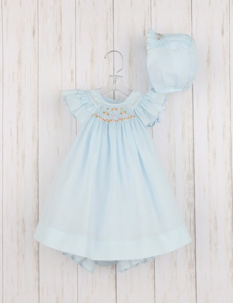 Blue Three Piece Smocked Organdy Outfit