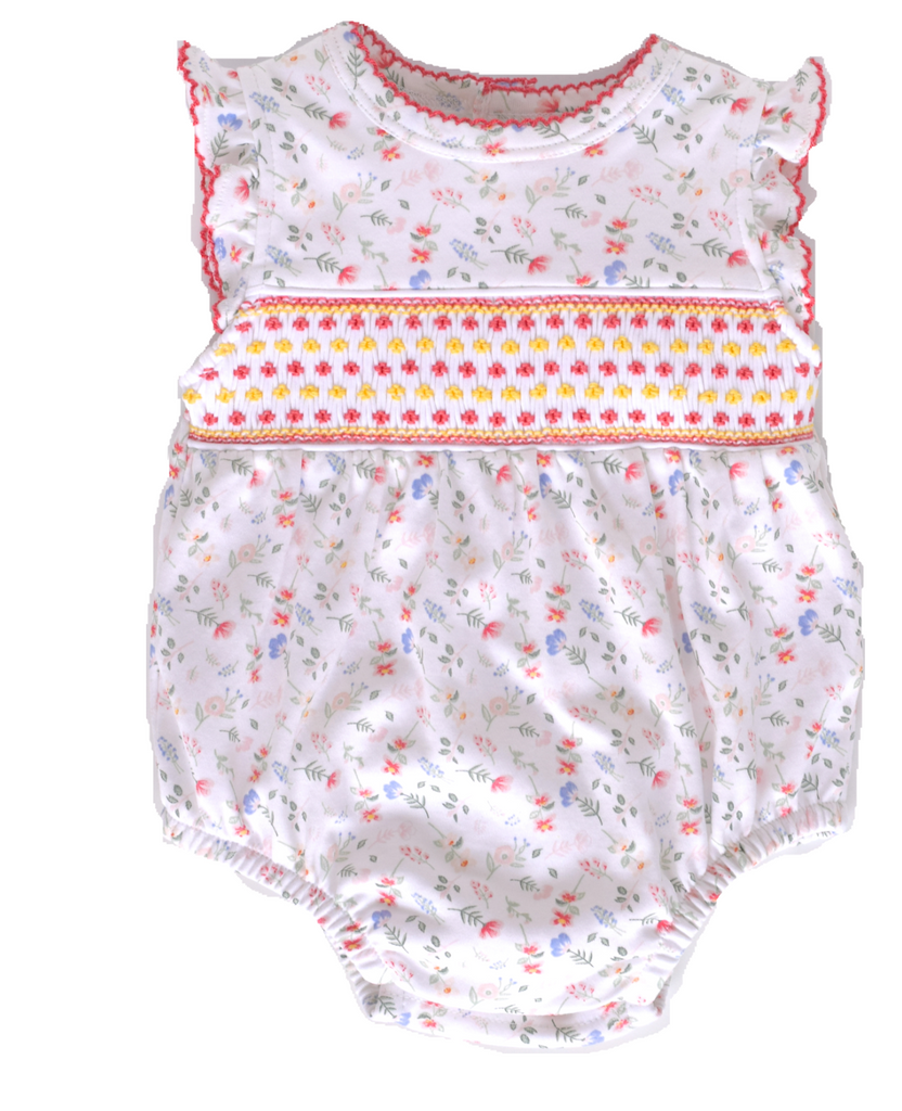Madison Pink Floral Smocked Bubble