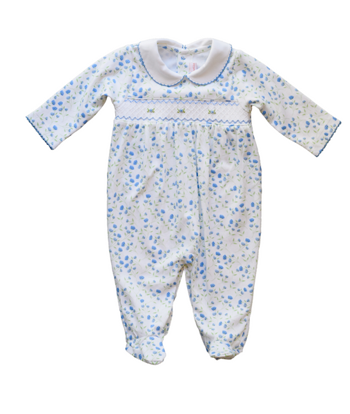 Arabella Blue Floral Smocked Footie