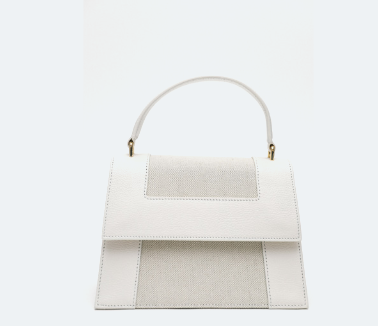 Neely & Chloe - The Graphic Frame Bag in White Goat Embossed Trim