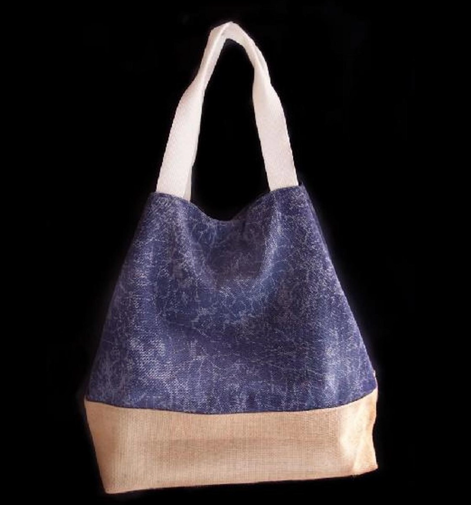 Canvas Tote Bag with Burlap Bottom