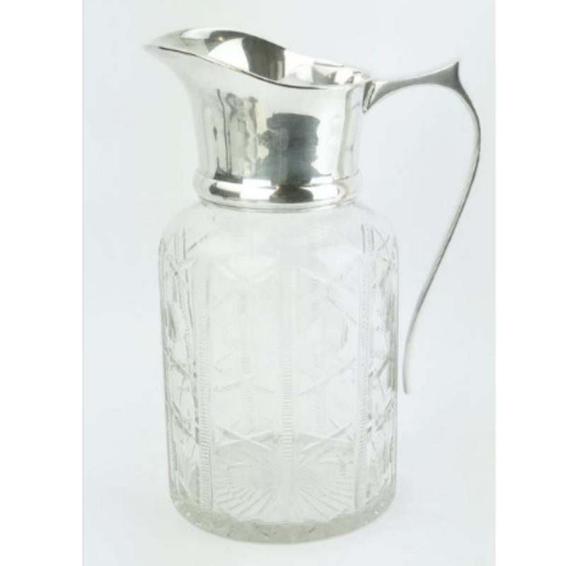 Estate Collection Silver - Pitcher Vintage Cut Crystal Glass/Silver Water