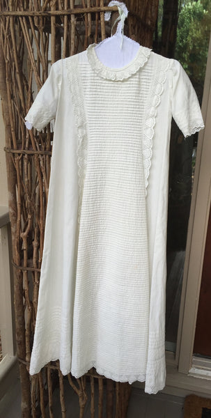 Antique Christening Gown with Pin Tucks and Ayrshire Lace