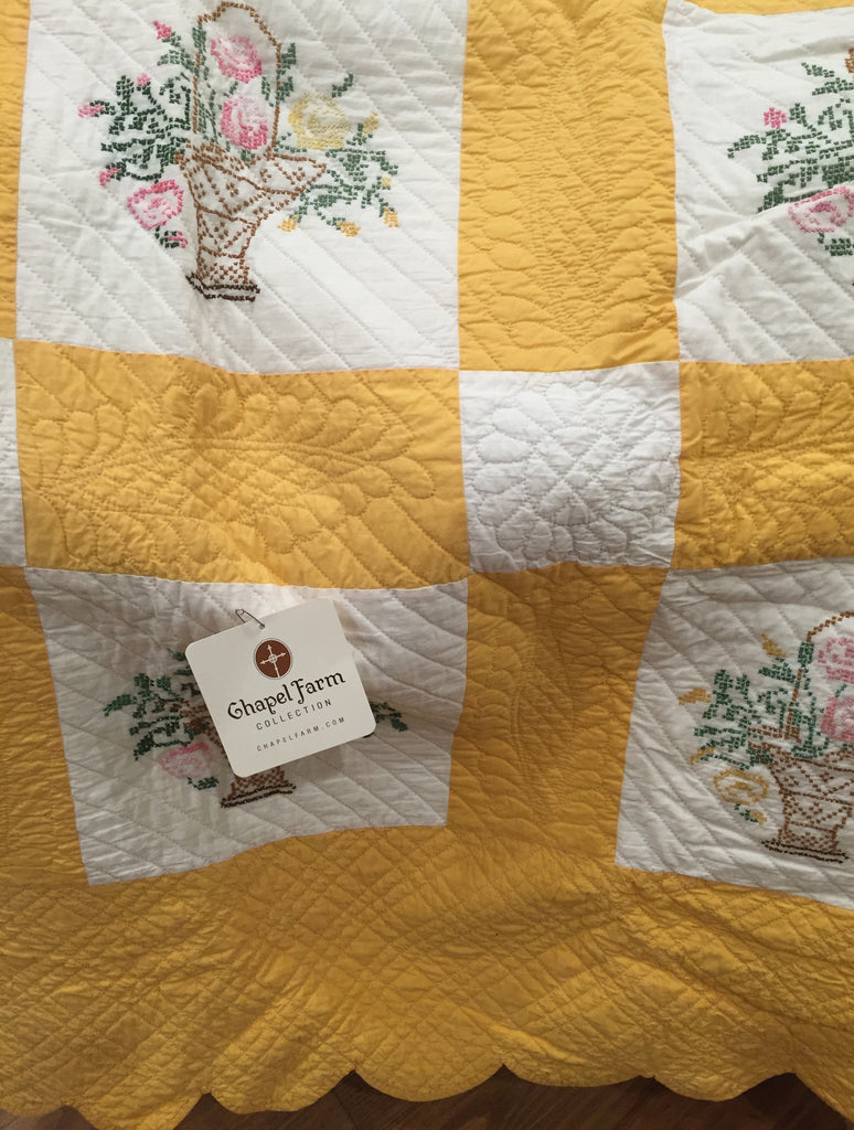 "Estate Collection Quilt - ""Baskets of Love"" Vintage Handmade"