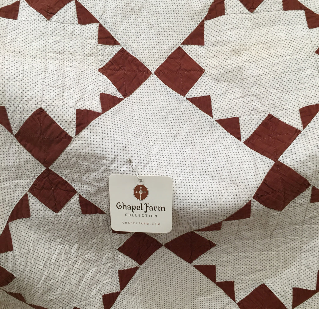 Estate Collection Quilt - Rare Antique C1880 Chocolate Brown Inverted Star & Shirting Quilt