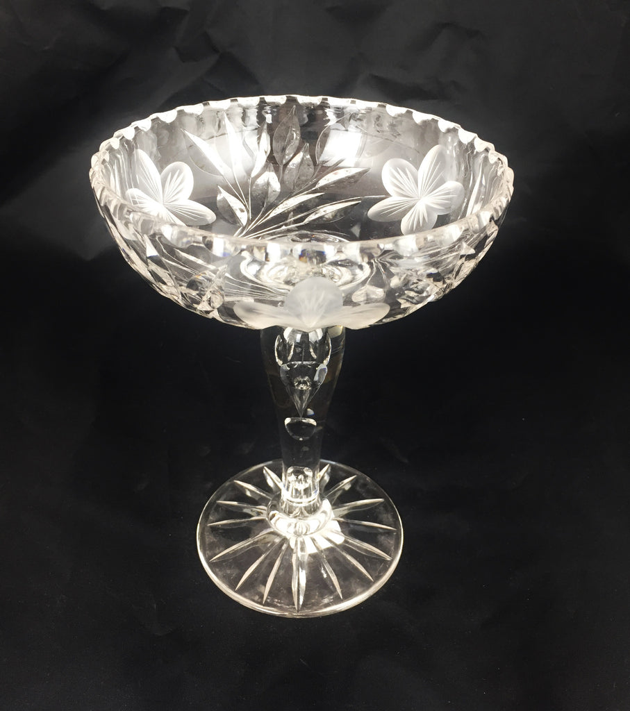 American Brilliant Period Cut Glass Footed Compote