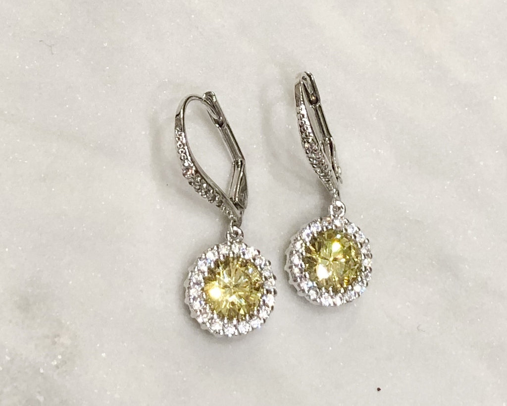Silver Leverback Earrings w/Paved Round Jonquil Stone