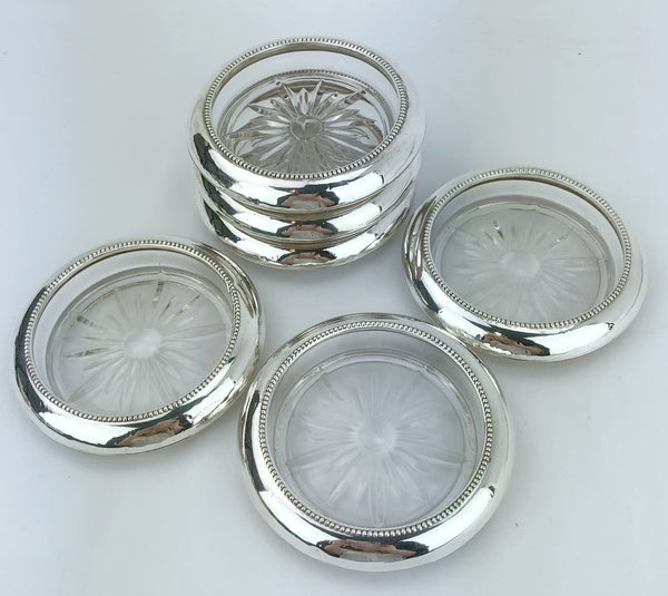 Estate Collection Whiting Sterling & Glass Coasters