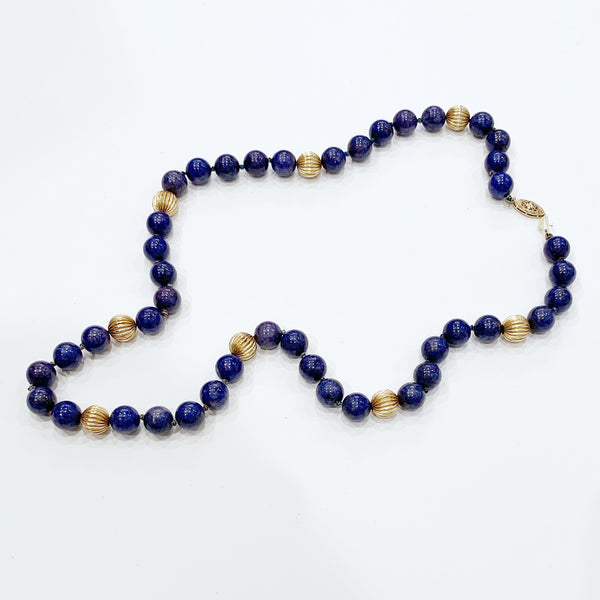 Estate Collection Necklace - 14K Gold Fluted Beads w/Lapis Beads