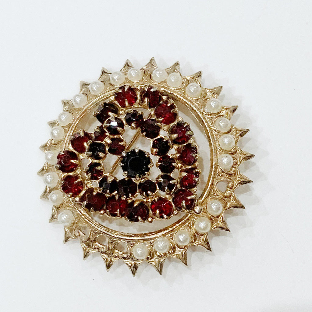 Estate Collection Brooch - Bohemian Pearl & Garnet