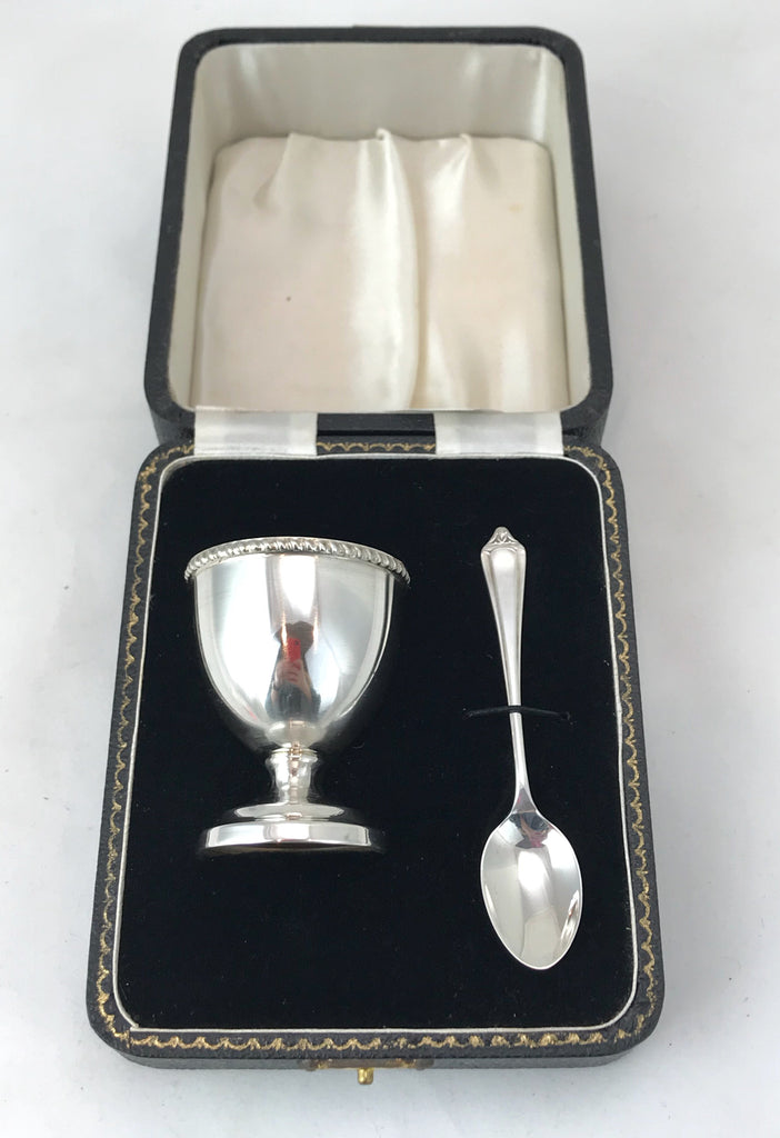 Estate Collection Antique Silver Egg Cup & Spoon