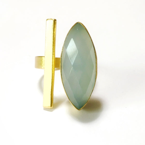 Ring - 18K Plated Bar w/Faceted Stone