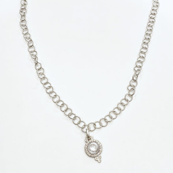 Silver Thin Chain Link Necklace w/Small Hanging Clear Pendant