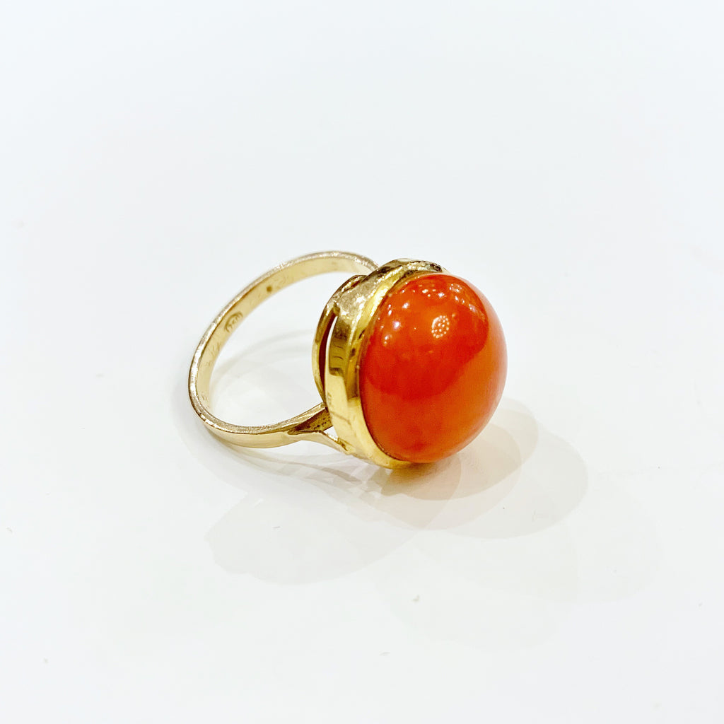 Estate Collection Ring - 18K Yellow Gold/Red Coral