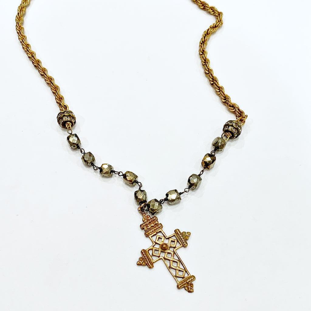 Coptic Cross on Pyrite with a Vintage Rope Chain