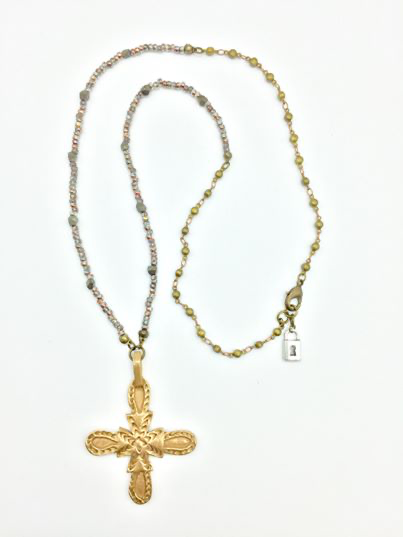 Saint Matrona Bronze Cross Pendant