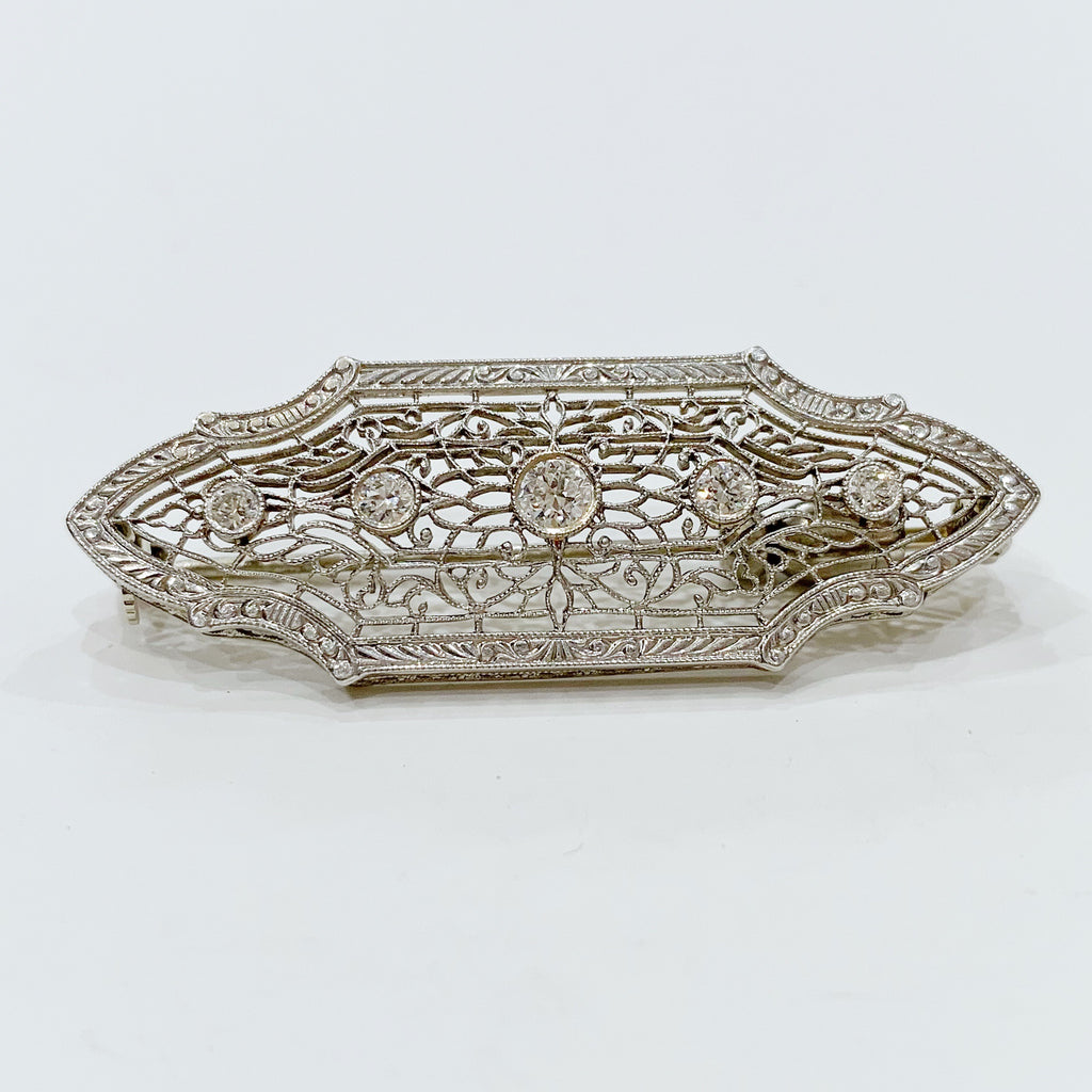 Estate Collection Brooch - 14K White Gold & Diamond