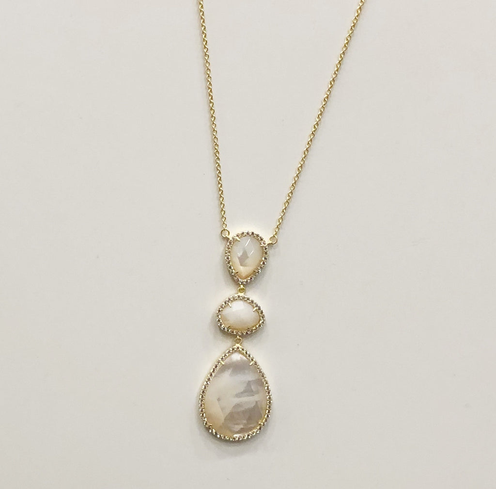 Gold Necklace w/Three Vertical Stones w/Pave