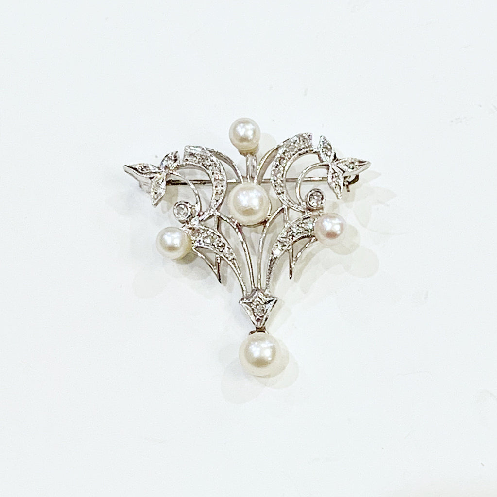 Estate Collection Brooch - Antique Gold & Pearl