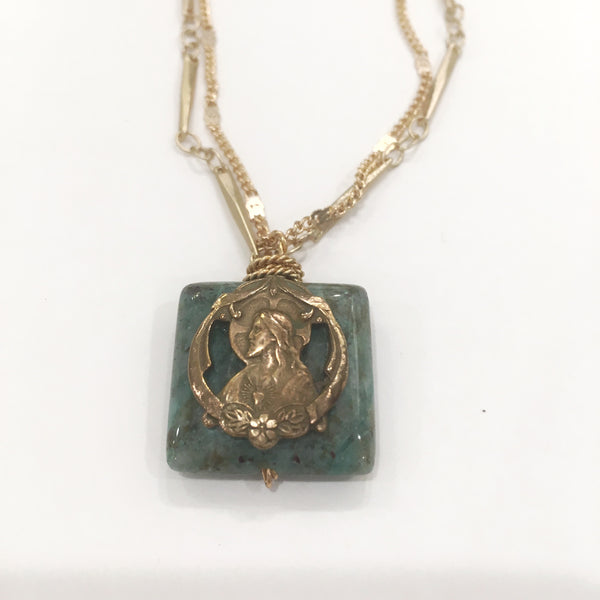 Necklace - Sacred Heart Medal on Moss Green Agate on Two Chains
