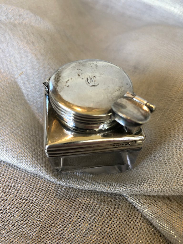 Estate Collection Antique 1830 English Sterling & Glass Inkwell
