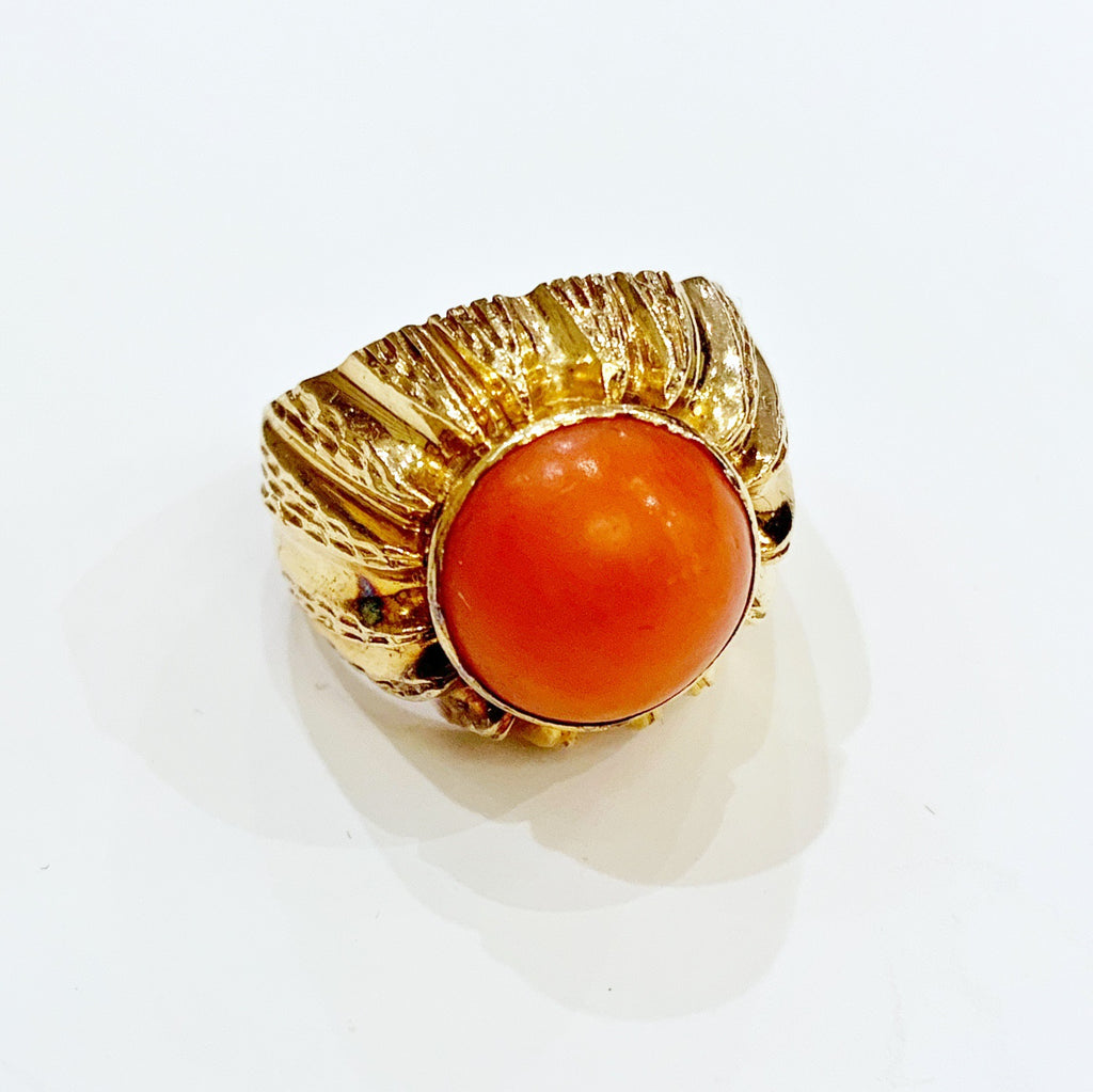 Estate Collection Ring - Mid 20th Century 18K Gold Coral