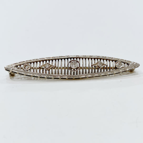 Estate Collection Brooch - 14K & Diamond