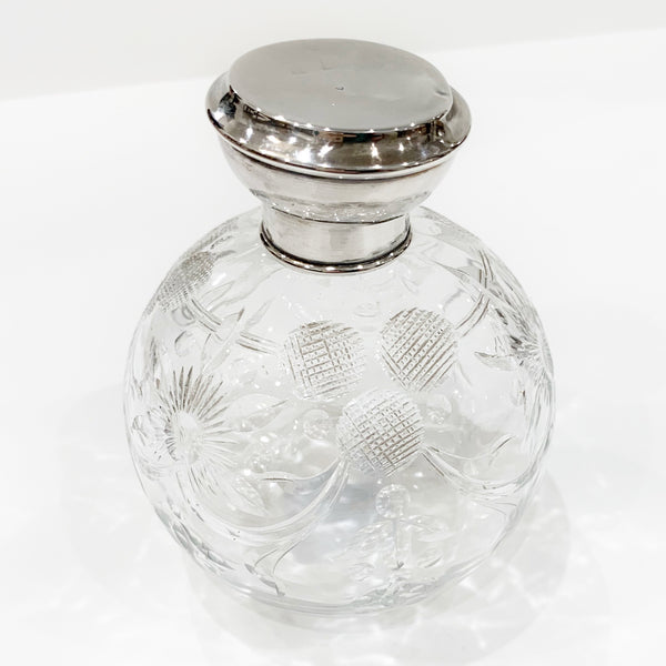 Estate Collection Sterling -Scent Bottle Floral Cut Crystal & Sterling