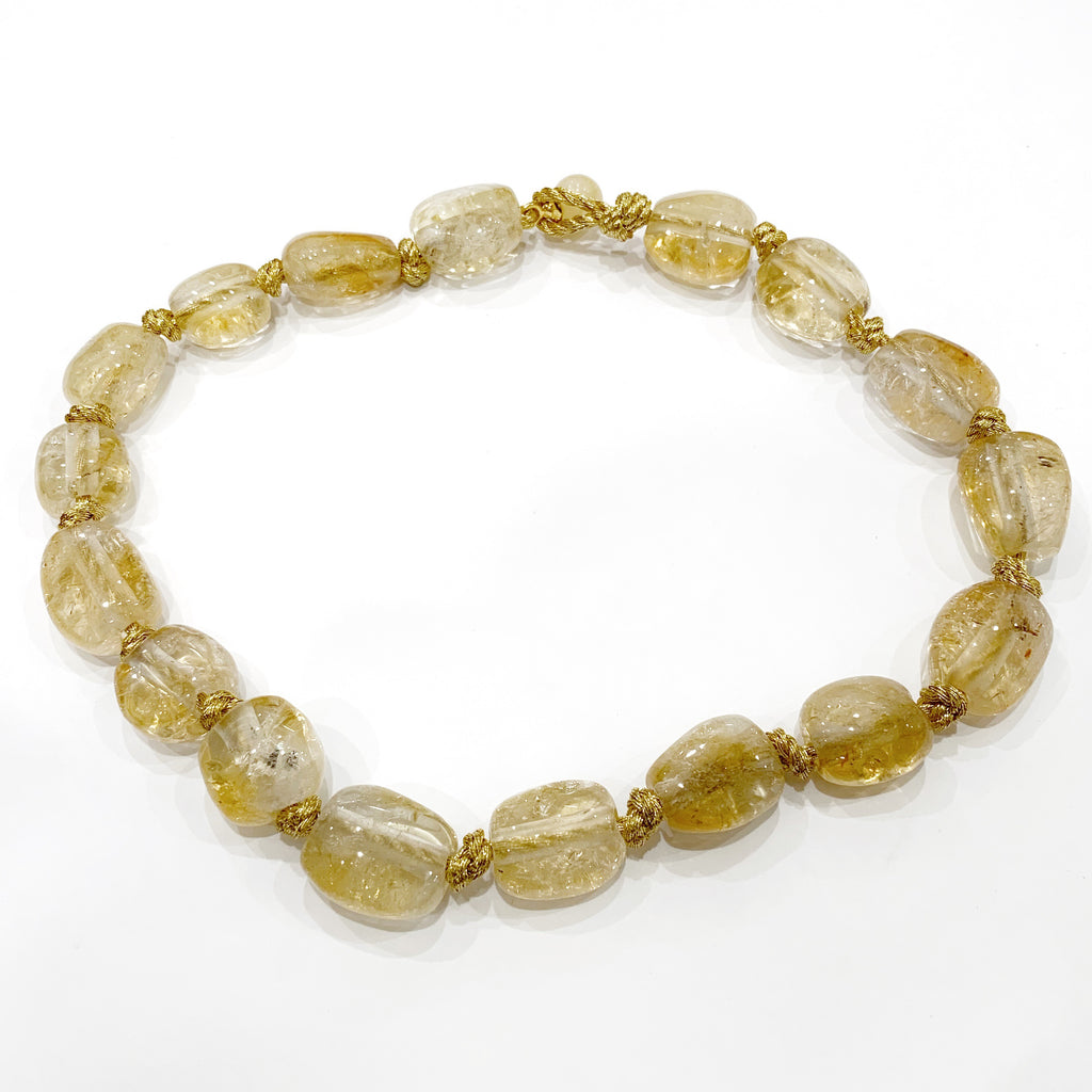 Chunky Citrine Nugget Necklace